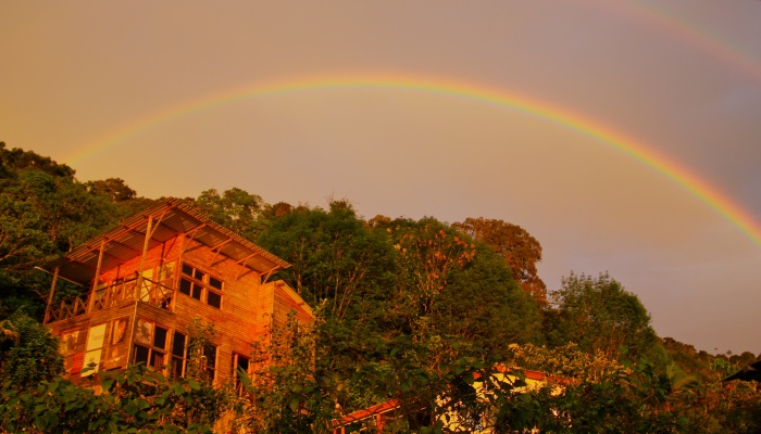 A double rainbow above the El Dorado lodge, high in the Santa Marta mountains. Copyright Phil Yates 2012.