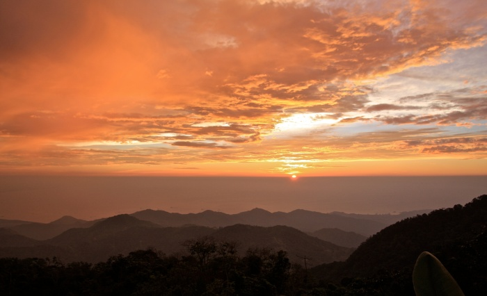 Sunset over the Caribbean, view from high in the Santa Marta mountains. Copyright Phil Yates 2012.