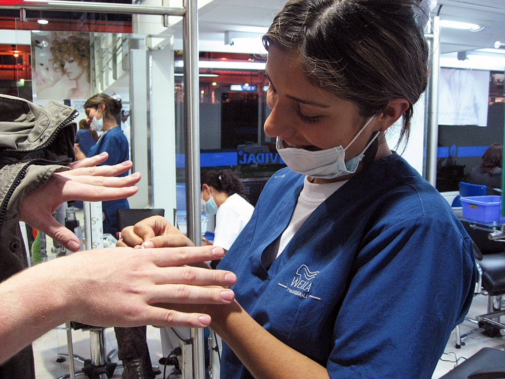 Bogota - Local nail specialist gives Sean a manicure