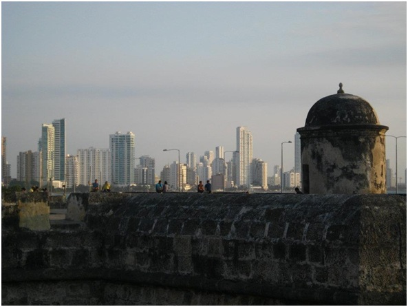 Looking out from the ciudad amurallada Cartagena.