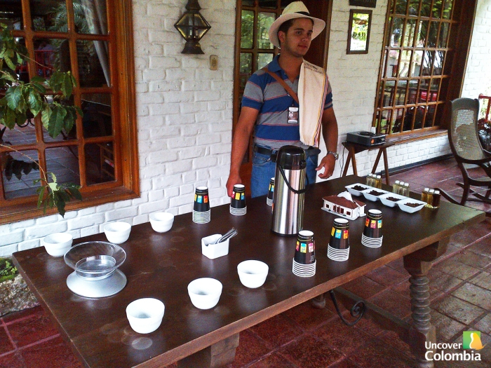 Tasting table with different  qualities of coffee beans to learn how to detect a good quality coffee
