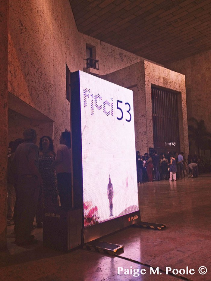 Electronic information boards for the 53rd FICCI outside the Convention Center of Cartagena