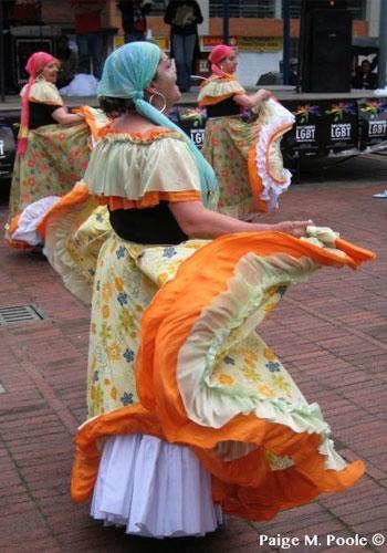 Cumbia dancers in a public park in Bogota