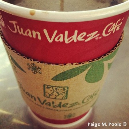 Tinto at the famous Colombian coffee chain, Juan Valdez Café