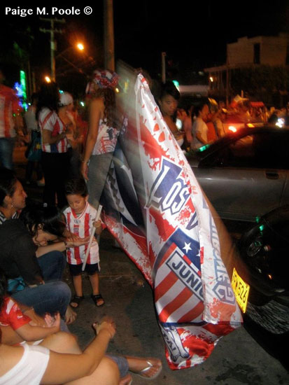 Celebration after Junior, Barranquilla's soccer team, won the national championship