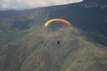 Paragliding in Chicamocha National Park.