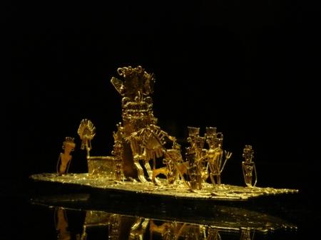 Piece of Muisca art in the Museo de Oro depicting the El Dorado ceremony