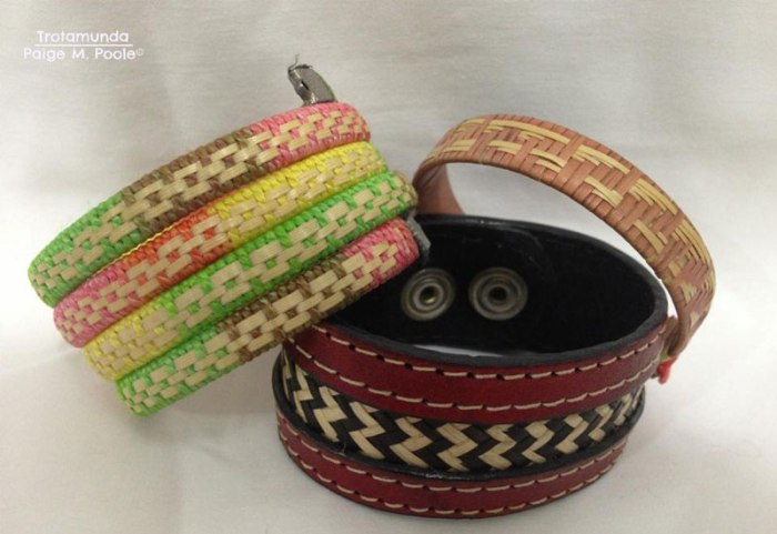 Bracelets made from caña fleche and cotton (left), caña fleche and leather (center), and pure caña fleche (right)
