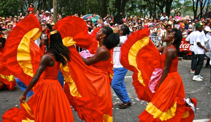 Ladies in red show off their South American moves