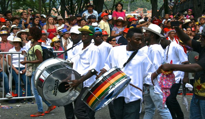 Group of drummers paying homage to the Rastafarian movement