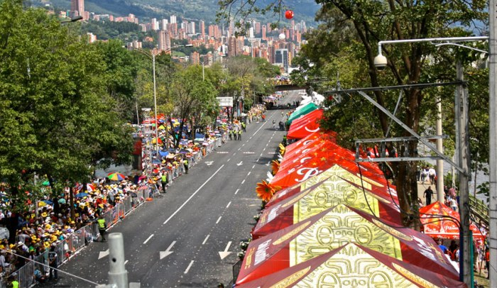 Crowds line the streets in anticipation of The Medellin Flower Festival
