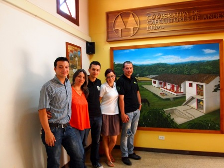 With collegues in the coffee cooperative