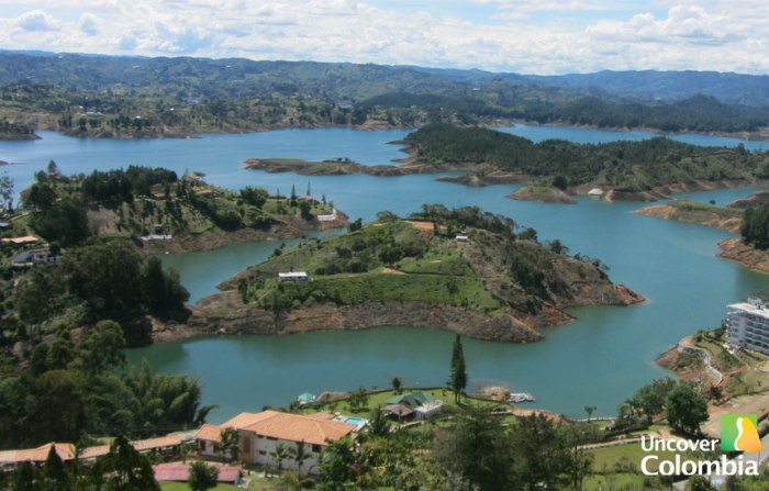 View from the top of the rock in Guatape