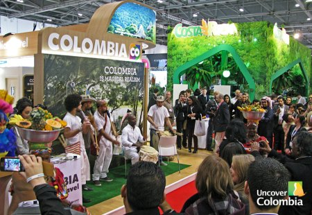 A sample of live Colombian music at the Colombia stand