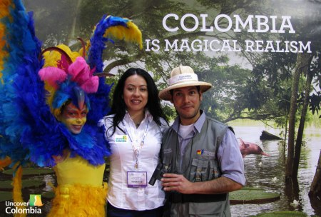 Nidia (from the Uncover Colombia team) birding at World Travel Market London