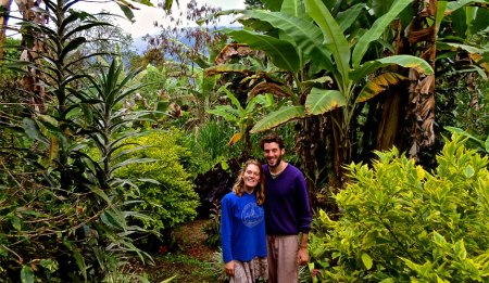 Solomon and Rebecca on coffee farm