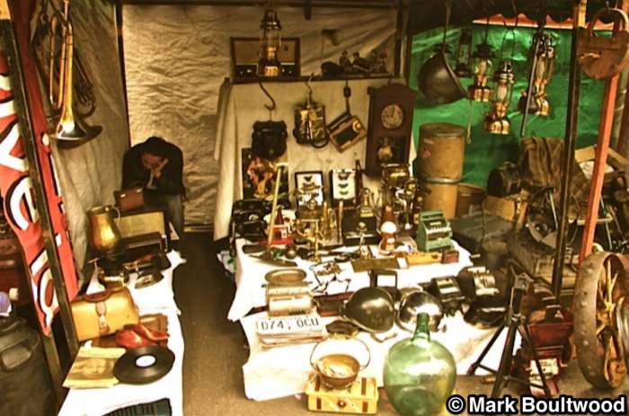 One of the many antique stalls inside the market