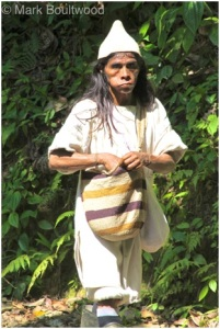The Wiwa mamo walking on the trail
